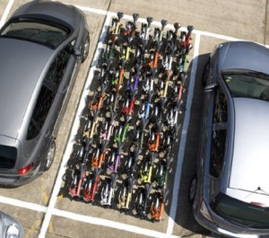Bromptons filling a car parking space