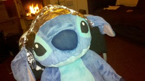 Stitch in a tinfoil hat